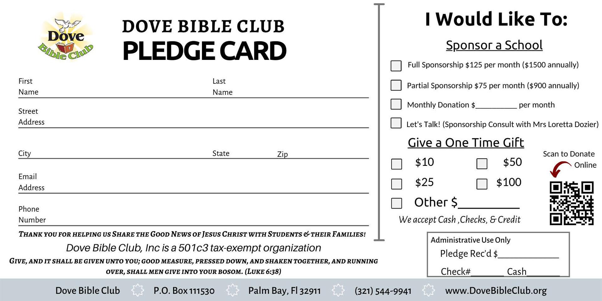 Dove Bible Club Pledge Card